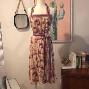 Betsey Johnson 100% silk halter dress